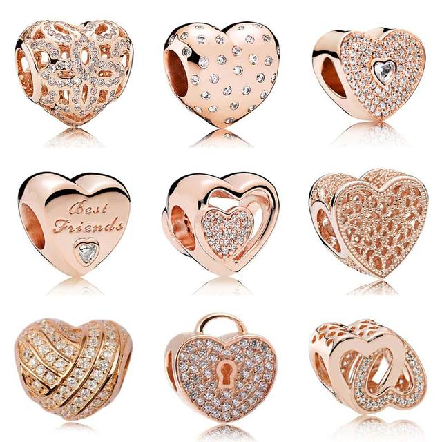 rose gold pave joined together heraldic love heart crystal beads fit