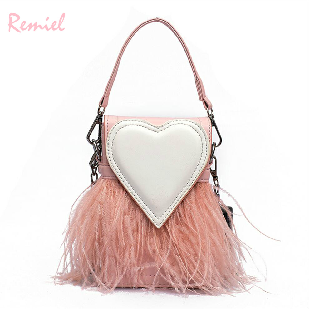 Sweet Lady Mini Tote bag 2018 New Fashion Quality PU Leather Women s  Designer Handbag Party Feather Chain Shoulder Messenger bag 8beae11abeb95