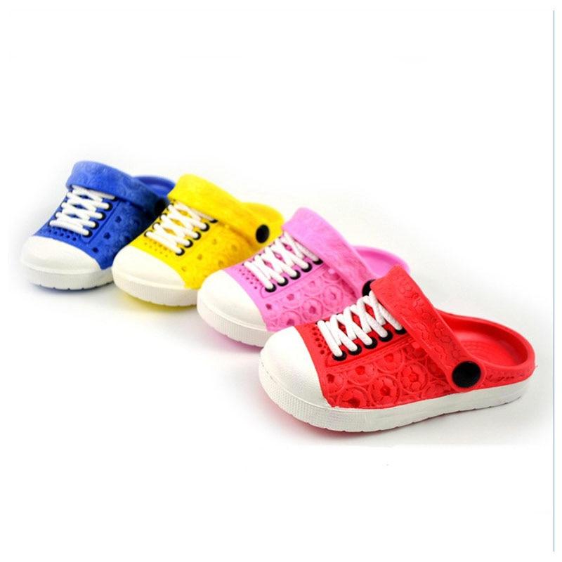 2017 Jaunie vasaras bērnu zēnu meiteņu sandales Mīkstie klucīši Elpojoši apavi Bērnu čības 4 Krāsas