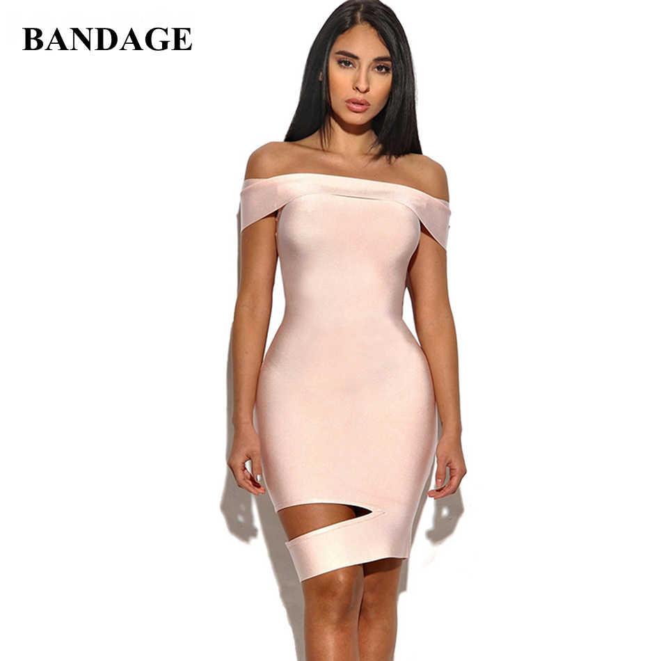 Розовые женские летнее платье Vestidos с открытыми плечами, с вырезами и плетением платья элегантный вырез на шее Leger Babe HL FH30