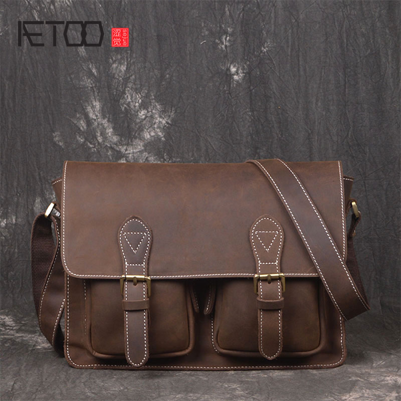 AETOO Men's first layer of cowhide horseshoe handmade leather retro bag horizontal section of the shoulder Messenger leisure men серьги коюз топаз серьги т102028339 01