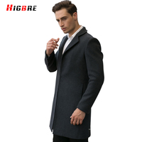 New Autumn Cardigan Coat Long Winter Wool Overcoat Men Black Big Size Windbreaker Male Pea Coat
