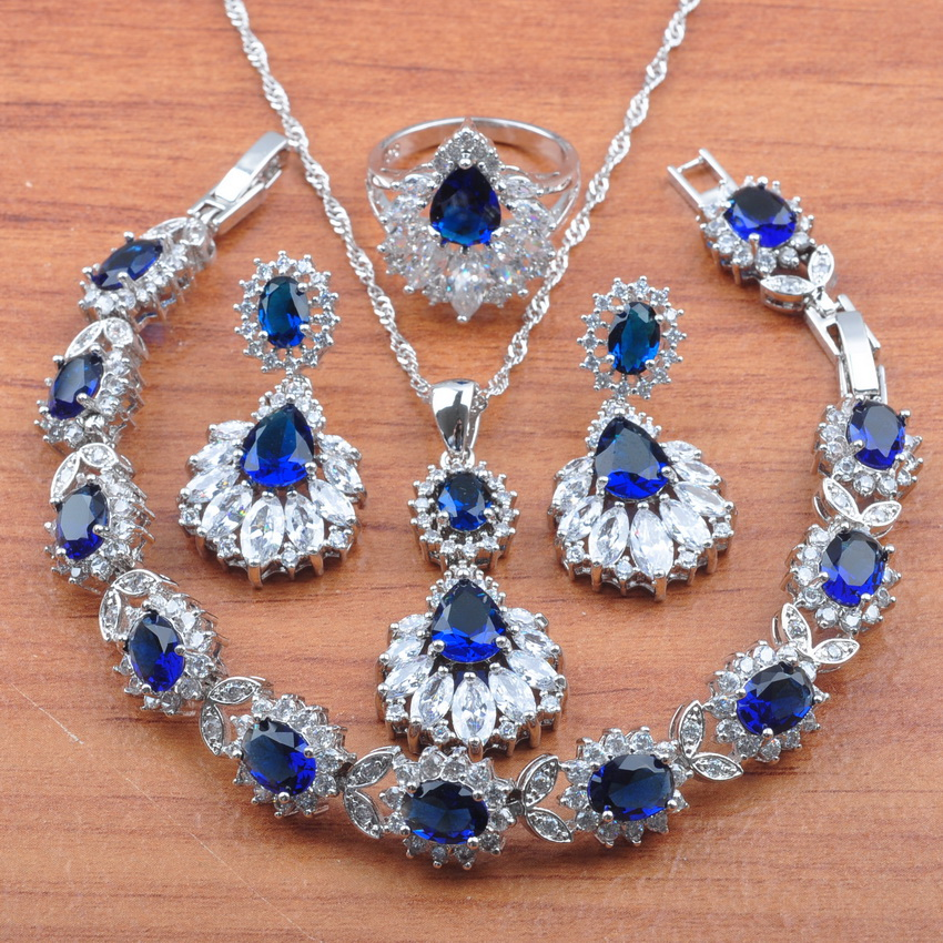 Jewelry-Set Earrings Necklace Pendant-Rings Crystal 925-Sterling-Silver Zirconia Women