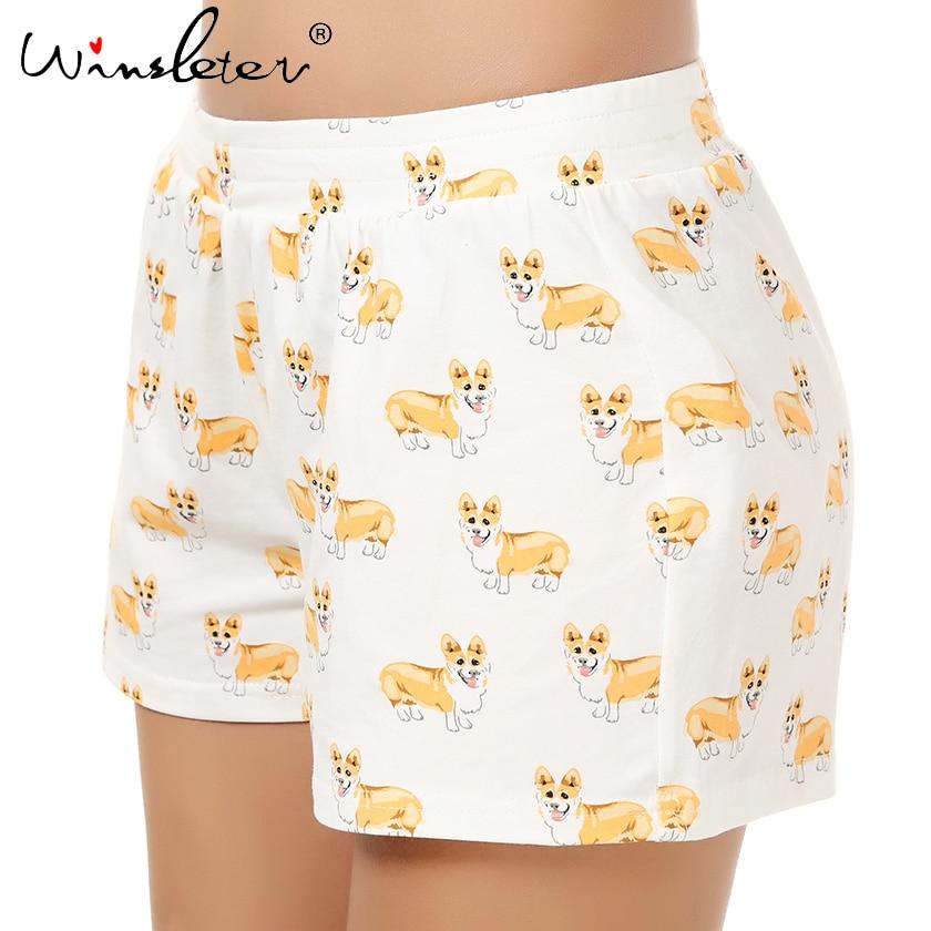 Cute Sleep Bottoms Knitting Cotton Pajama Shorts Women Corgi Print Elastic Waist Stretchy Loose Plus Size 1