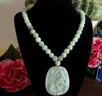 Shiipping Jewelr 004484 Verde Bianco Naturale Un Grado Giadeite Bead Necklace & Del Pendente/Dragon & Topi