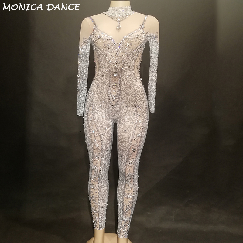 Большие кристаллы сетка Комбинезоны Сексуальная Стразы перспектива боди этап Одежда для танцев Для женщин вечер праздновать стрейч костюм