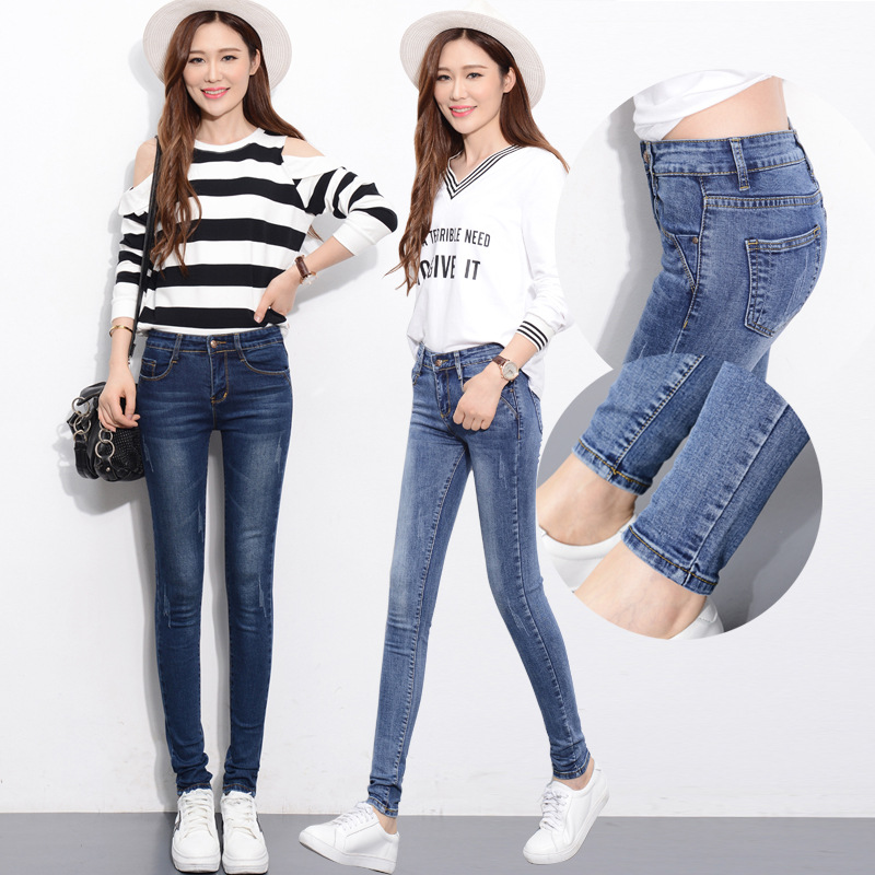 New Jeans Women Elasticity Female Slim Was Thin Small Pants Trousers Pencil Pants Jeans Woman High Waist Jeans Korean