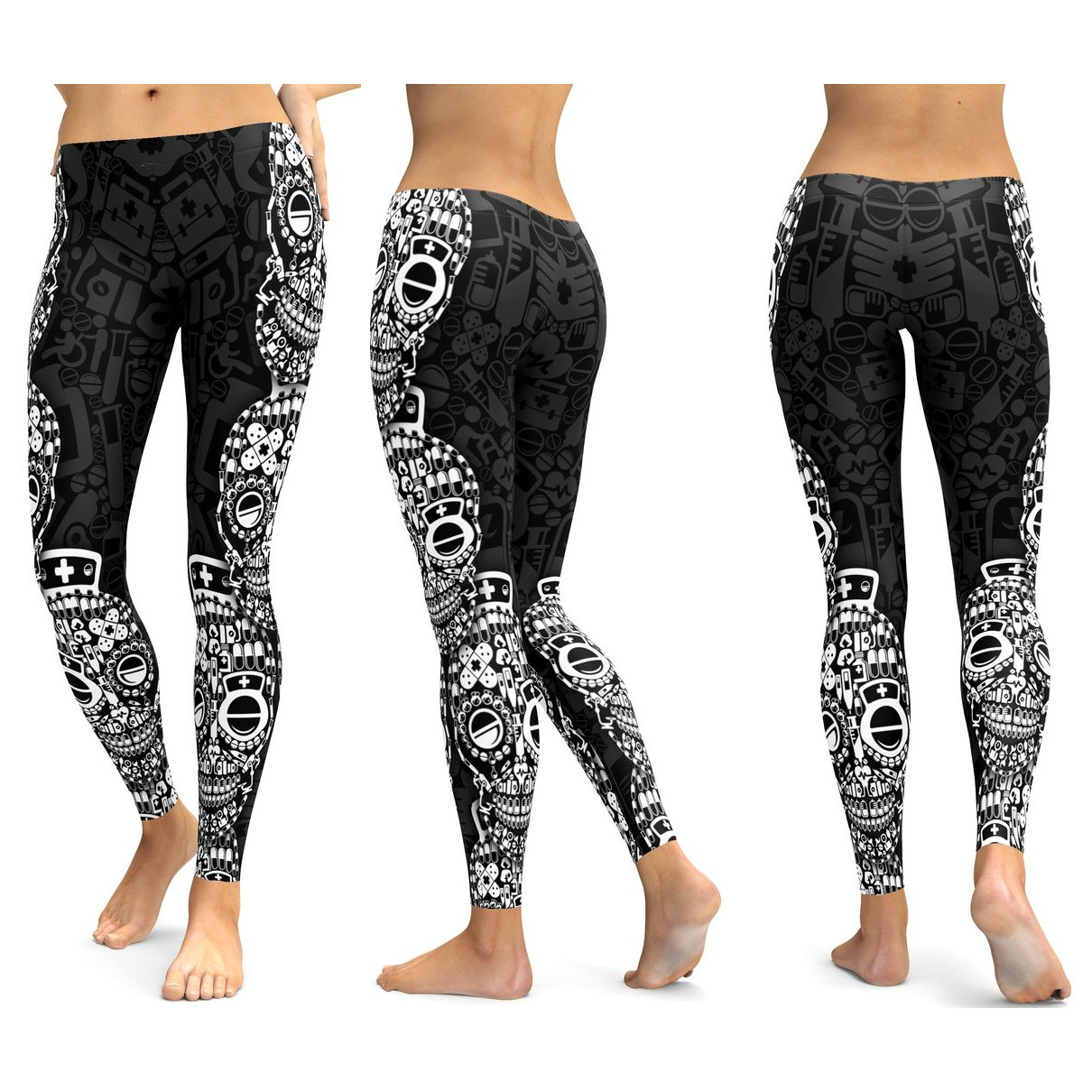 Skull Leggings Yoga Pants Women Sports Pants Fitness Running Sexy Push Up Gym Wear Elastic Slim Workout Leggings 37