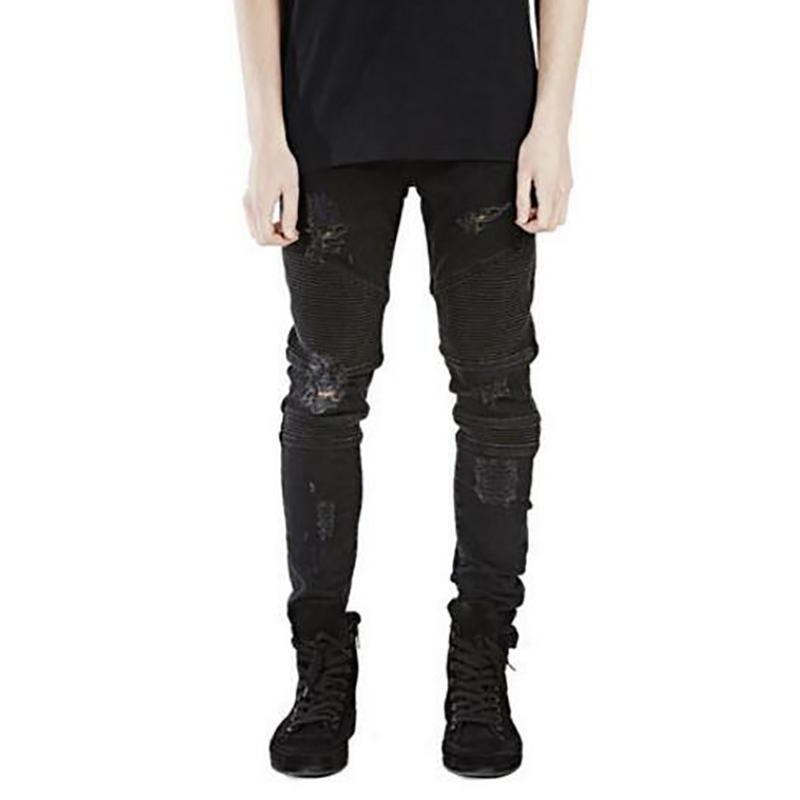 Hole Jeans Men Pants Fear of God Man Masculina Trousers Pant Boost Biker Balmai Ripped Skinny Denim Motorcycle Slim Fit Joggers