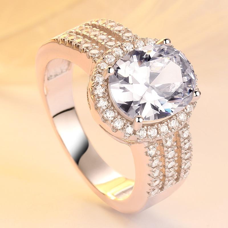 TONGLiN 925 bagues de mariage en argent Sterling pour femmes bijoux classiques bague de fiançailles en argent Sterling 925 forme ovale bague CZ