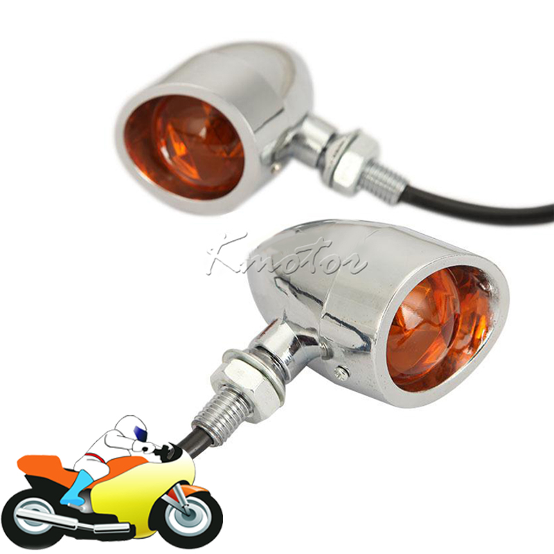 Universal Chrome Motorcycle Bullet Turn Signal Indicator Brake Running Light Lamp Street Bike Sport Bike Chopper Cafe Racer