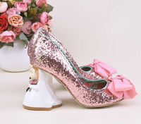 Unique Pink Glittering Sequins Sip on Heels Cute Butterfly knot Decorated Bride Groom Shape Doll Heel Pumps Wedding Shoes