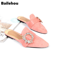 Bailehou Women Mules Slippers Fahion Crystal Flock Female Flat Heels Shoe Pointed Toe Elegant Woman Slipper