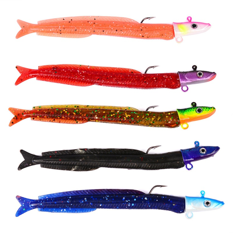 5 pcs Fish Head Sinking Fishing Lure 12.5cm/14g Fresh Salt Water Vivid Body Jigging Soft Fishing Tackle ...