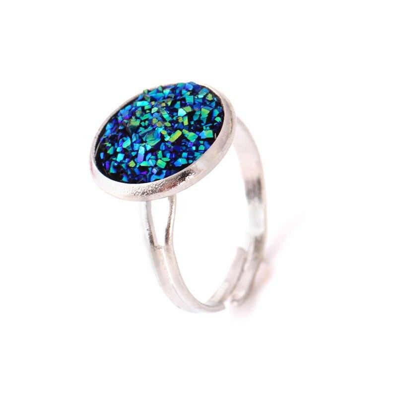 Crazy Feng อินเทรนด์ Druzy หินแหวนเงินผู้หญิงดีสีงานแต่งงานแหวน Anel แหวนเครื่องประดับปรับขนาด