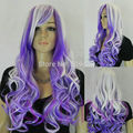 hot sell new - W26$ new women long curly wavy layered hair wig purple whtie mixed color wig