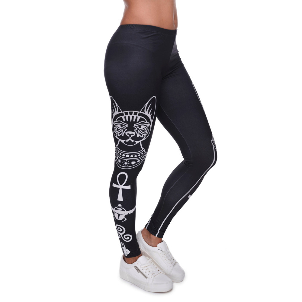 High Elasticity Egyptian cat symbols Printed Fashion Slim fit Legging Workout Trousers Casual Pants Leggings for