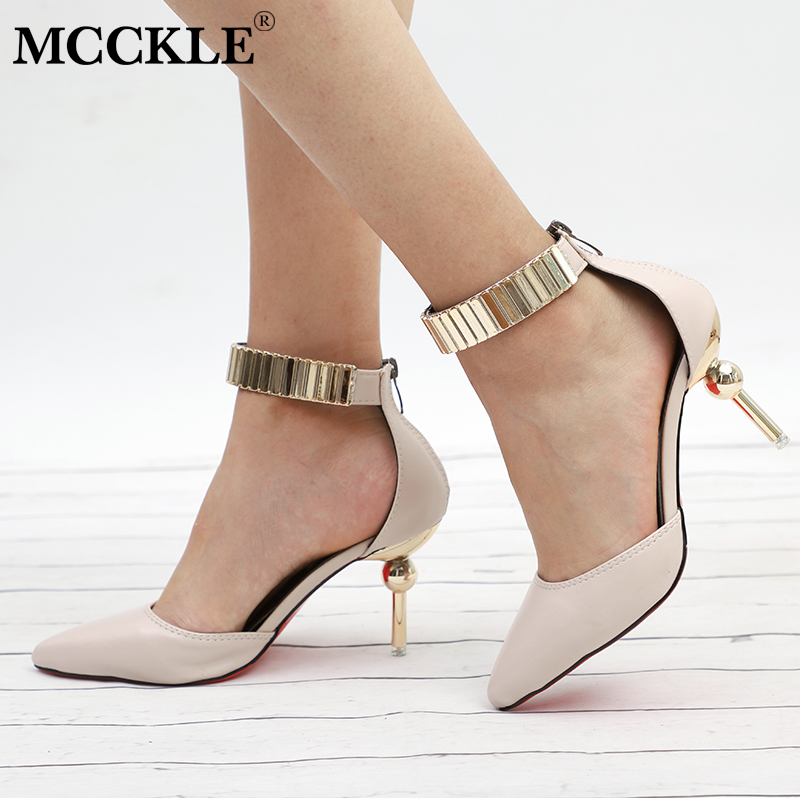MCCKLE Women Elegant Office Pumps High Heels Foe Female Zipper Pointed Toe Thin Heel Shoes Ladies Stiletto Fashion Footwear bigtree summer autumn women pumps elegant show thin heels stiletto suede pointed side hollow female high heels shoes g3168 6