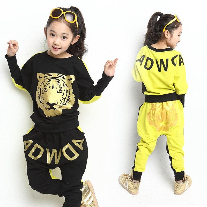 fashion Girls Clothing Sets 3-12Y children suits, Spring Autumn New Kids Sports Suit Tiger Print Long Sleeve Tshirt Harem Pants