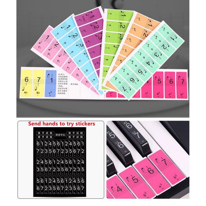 4PCS/set 88 Keys Piano Keyboard Sound Stickers 61Keys Electronic 54Keys Music Decal Label Note