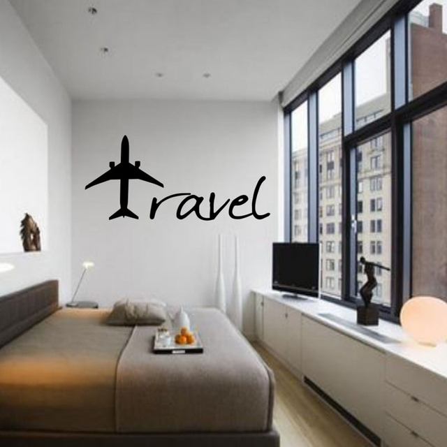 Airplane Wall Decor aliexpress : buy travel airplane wall stickers bedroom vinyl