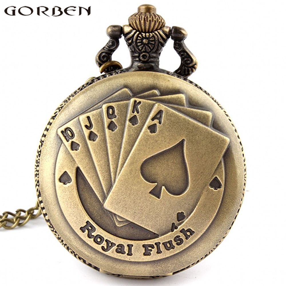 Flush Poker Pattern Necklace Watch Vintage Style Bronze Pendant Chain Clock Quartz Pocket Watch Free Shipping