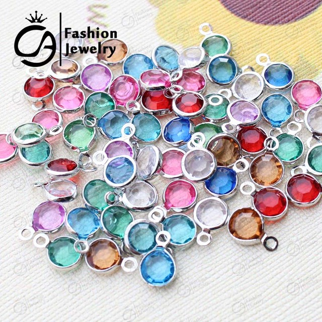 Birthstone Connector Charms Silver Plastic Beads For Necklace Diy Jewelry A1216
