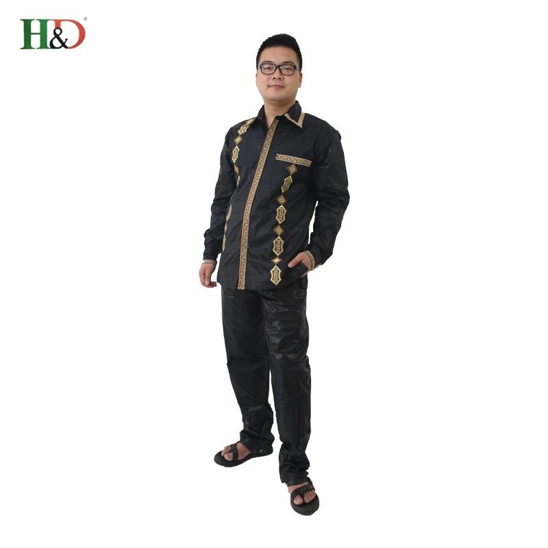 H&D African Man Kaftan print Bazin riche Dashiki Duge hlače s dugim - Nacionalna odjeća - Foto 5