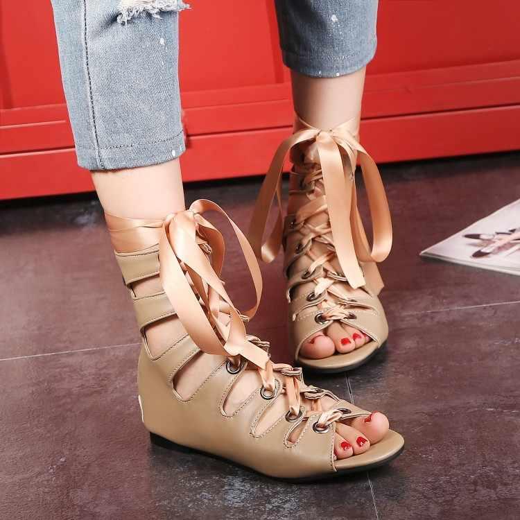Große Größe 18 1 High heels sandalen frauen schuhe frau sommer damen Reine farbe Frenulum Römischen sandalen