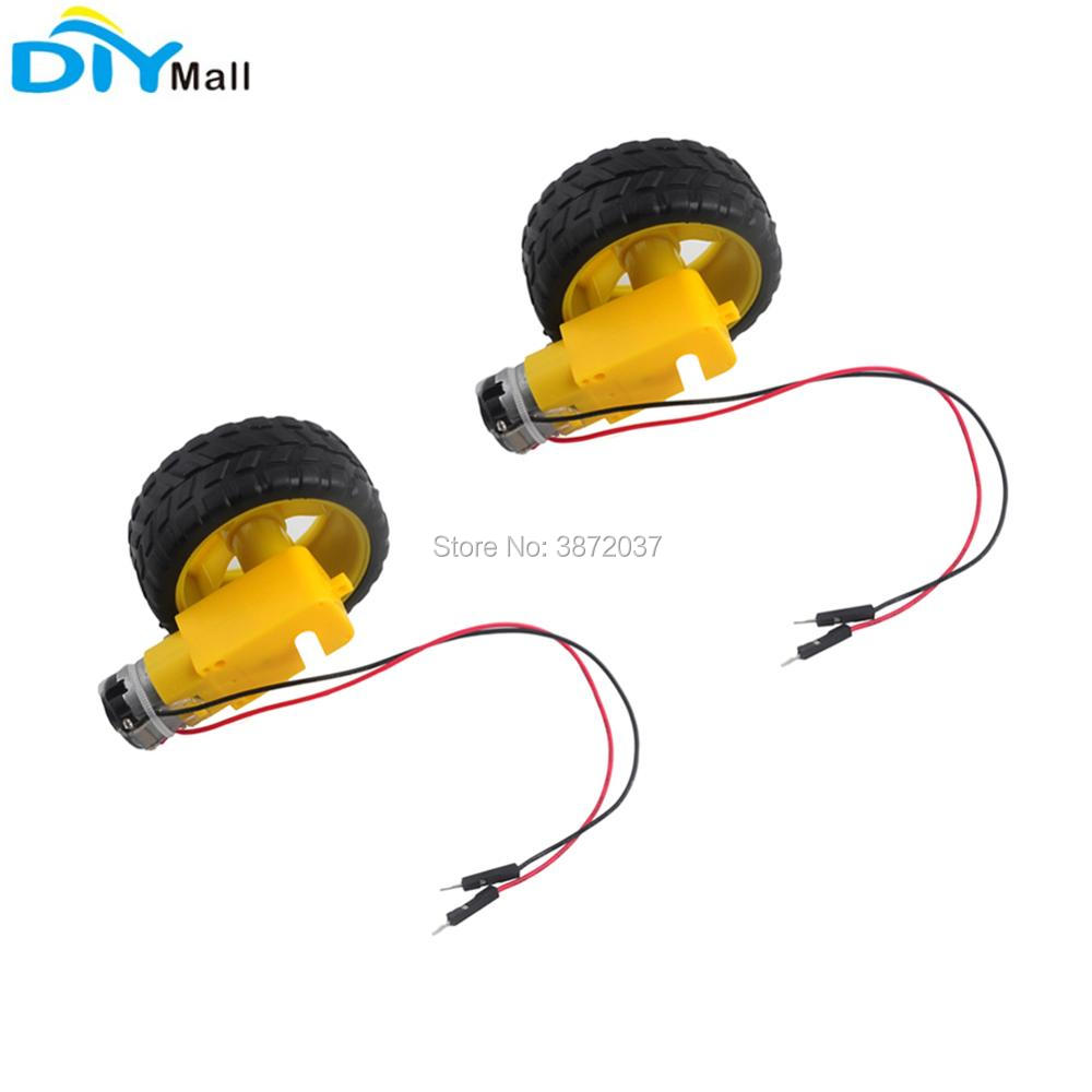 2pcs/lot TT Gearbox Motor 200RPM DC 3-6V+Tire Wheel 1:48 Male Connector For Arduino Smart Car Robot