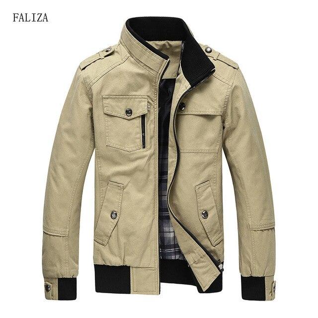FALIZA New Casual Men's Jacket Spring Autumn Army Military Jacket Men Black Khaki Male Outerwear Male Windbreak jackets JK101