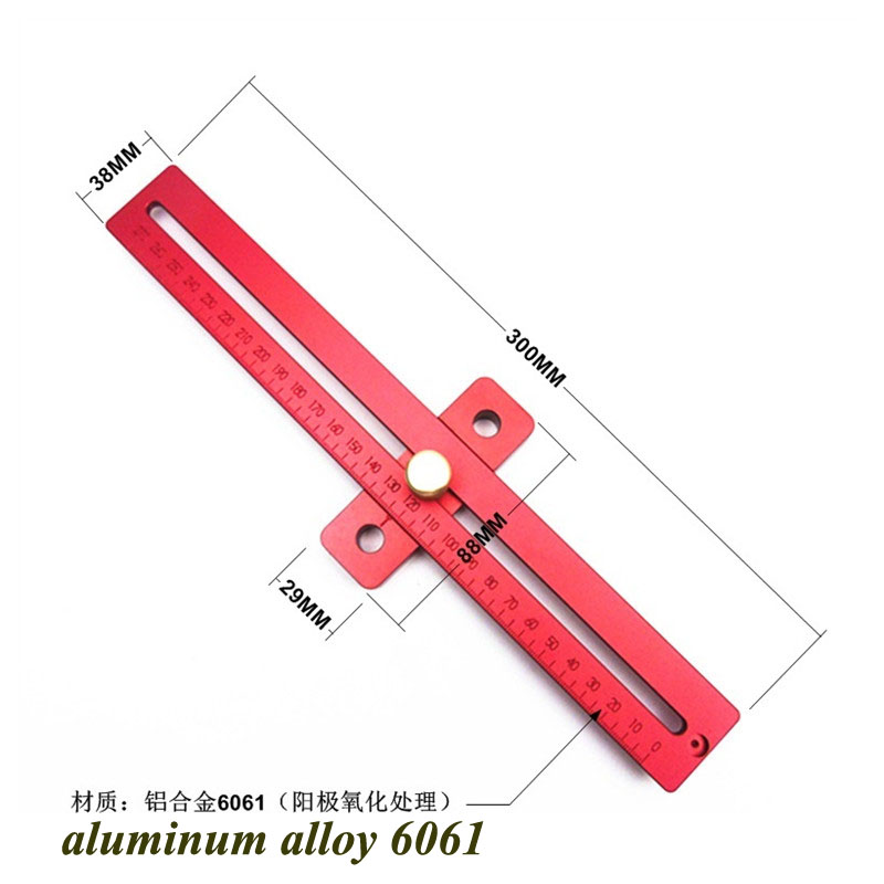1Pc Carpenter wood worker Aluminum Alloy scribing ruler woodworking T type hole ruler marking tool(