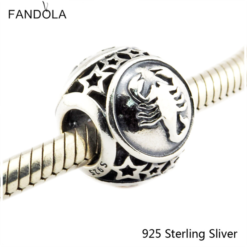 Scorpio Star Sign 925 Sterling Silver Charm Beads Fits For Pandora Bracelet Charms for DIY Fine Jewelry