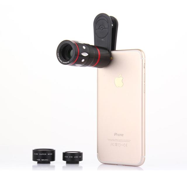 Kit 4em1 Lentes de 10X de Zoom Telefoto Lente da câmera Do Telefone Telescópio 0.36X Ampla ângulo de 15x 7 marco lentes olho de peixe para iphone 5 6 s plus