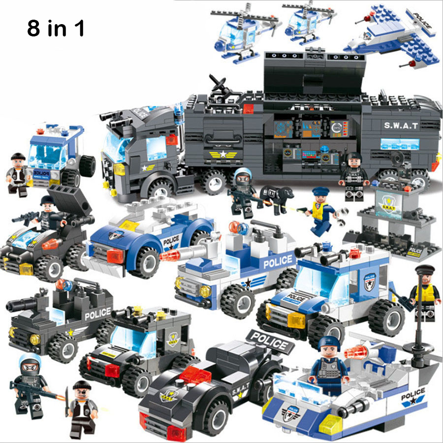 City Police Series 8 in 1 Vehicle Car Helicopter Police Station Building Blocks DIY Bricks Compatible with Legoed Blocks 407pcs sets city police station building blocks bricks educational boys diy toys birthday brinquedos christmas gift toy