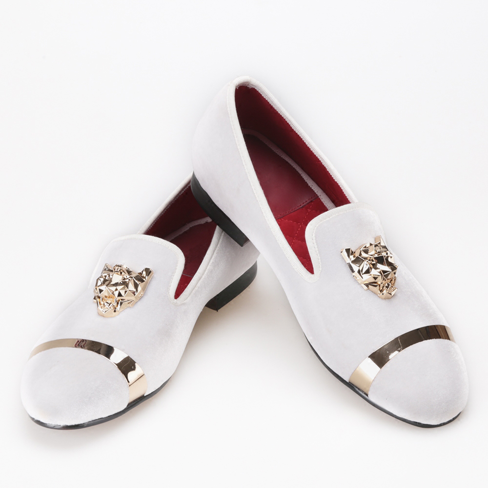 New fashion font b men b font party and wedding handmade loafers velvet shoes with PP