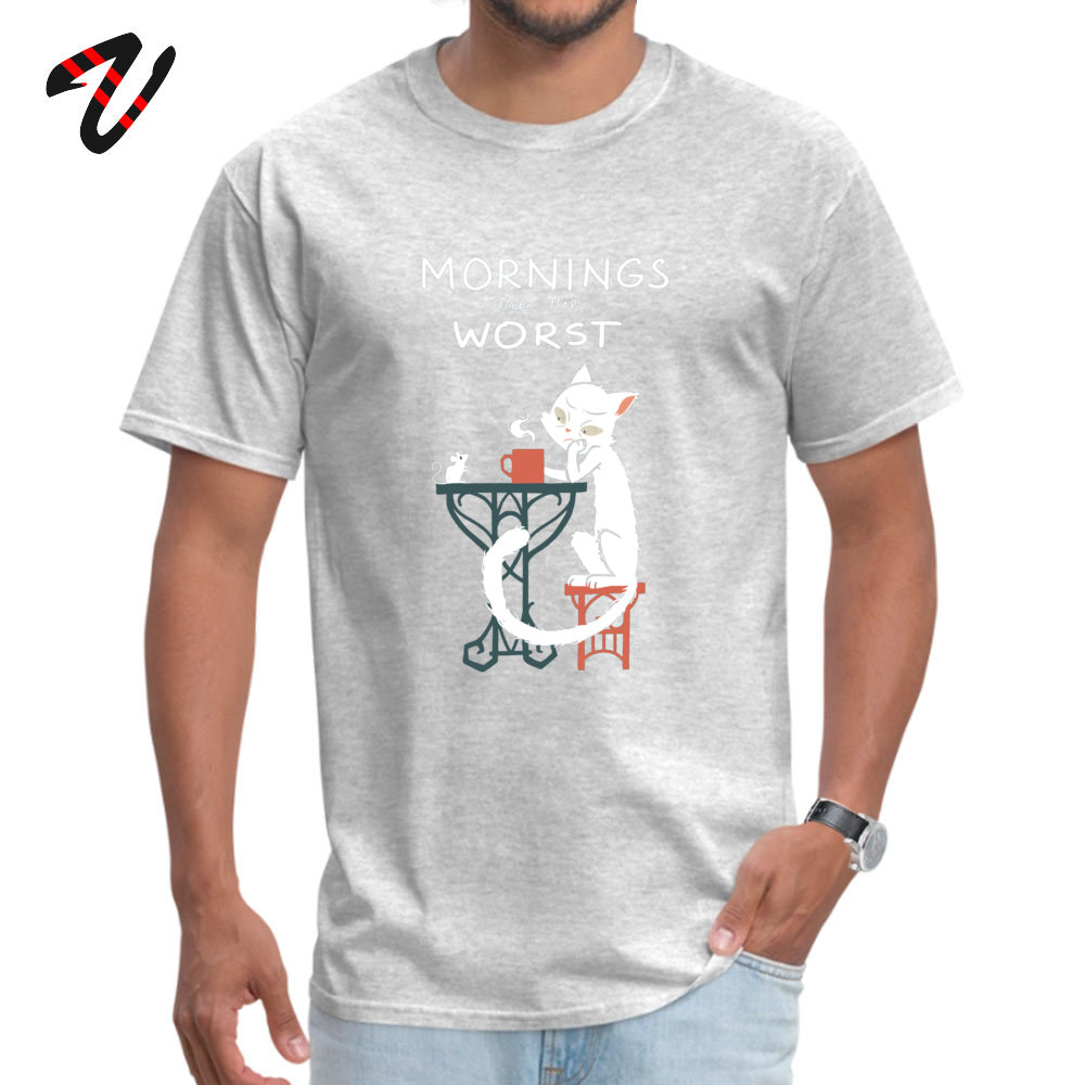 Mornings are the worst Dominant Men T Shirts Crew Neck Short Sleeve Cotton Tops Shirts Customized Tops Shirts Top Quality Mornings are the worst -13730 grey