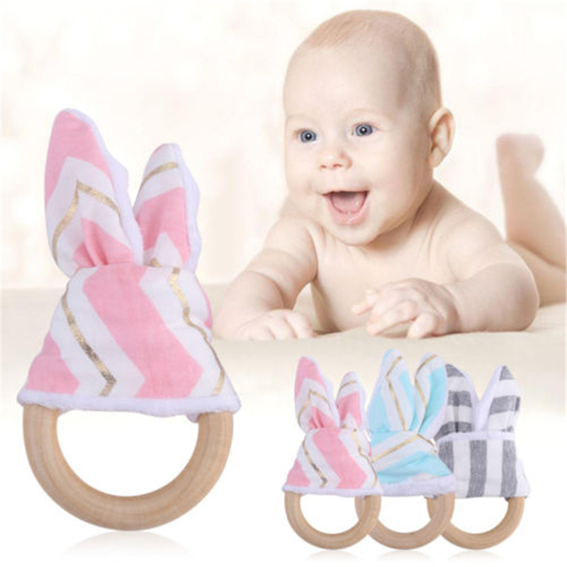 ??? Teethers Baby Natural Wooden Teether Crochet Bunny Ears Teething Ring Chewing Toy Cheap Sales 50% Baby
