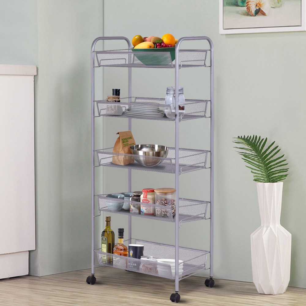 Mesh Rolling File Utility 5 Tier Cart Home Office Kitchen Storage Basket 1