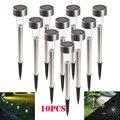hot 10 pcs Outdoor Stainless Steel LED Solar Landscape Path Lights Garden Light Yard Lamp