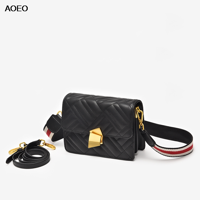 AOEO Women Messenger Bags Split Leather Small Crossbody Bag Korean Fashion Female Double Shoulder Strap Shoulder