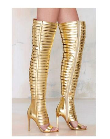 New Arrivals Autumn Summer Golden Black Sexy Lady Over the Knee High Heels Sandal Boots Cut Out  Peep Toe Boots Free Shipping gorgeous black open toe side lace up knee high summer sandal boots 2017 new back zipper hollow out gladiator sandal summer heels
