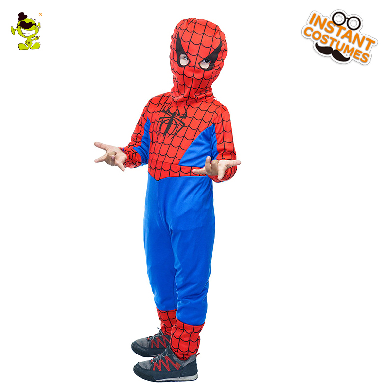 QLQ Halloween Boy's Spider Costumes Role Play Christmas Performance Superhero Spider Jumpsuit for Kids Boy Costume Party