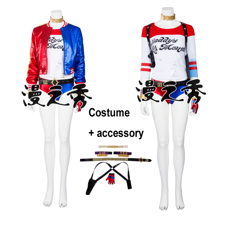 Hero Catcher High Quality Suicide Squad Harley Quinn Cosplay Costume Set Harley Quinn Costume With Accessory suicide squad harley quinn boots bota accessories black women for harley shoes harley quinn costume cosplay suicide squad