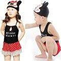 2016 Meninos Maiôs chapéu Meninas Nadam desgaste Crianças Minnie Uma peça de Biquíni Bebê Meninos Roupas de Banho de Natação Tronco