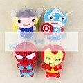 Горячая 4 стиль Marvel Мстители Тор Капитан Америка Человек-Паук ironman брелок брелок кулон фаршированные плюшевые игрушки