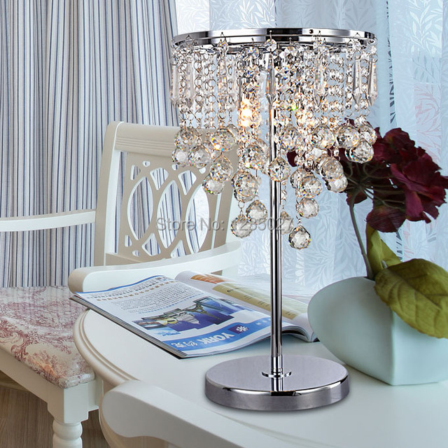 New Modern Luxury Crystal Table Lamp With K9 Crystal Lampshade E14 Base  D280MM H420MM For Living