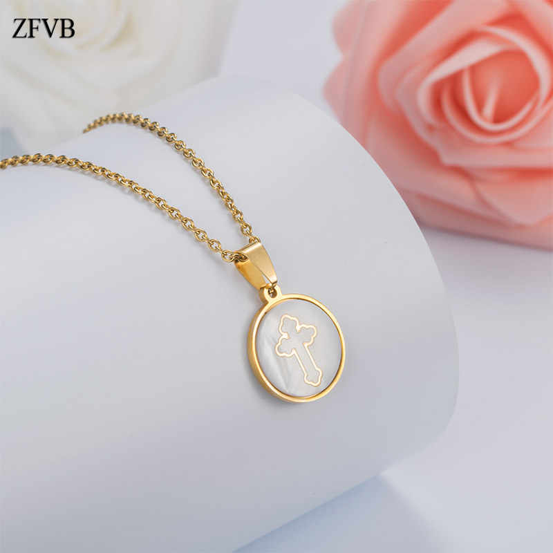 ZFVB Classic Religion Cross Pendant Necklaces Women Stainless Steel Gold Color Charm Shell Pendants Female Necklace Jewelry Gift