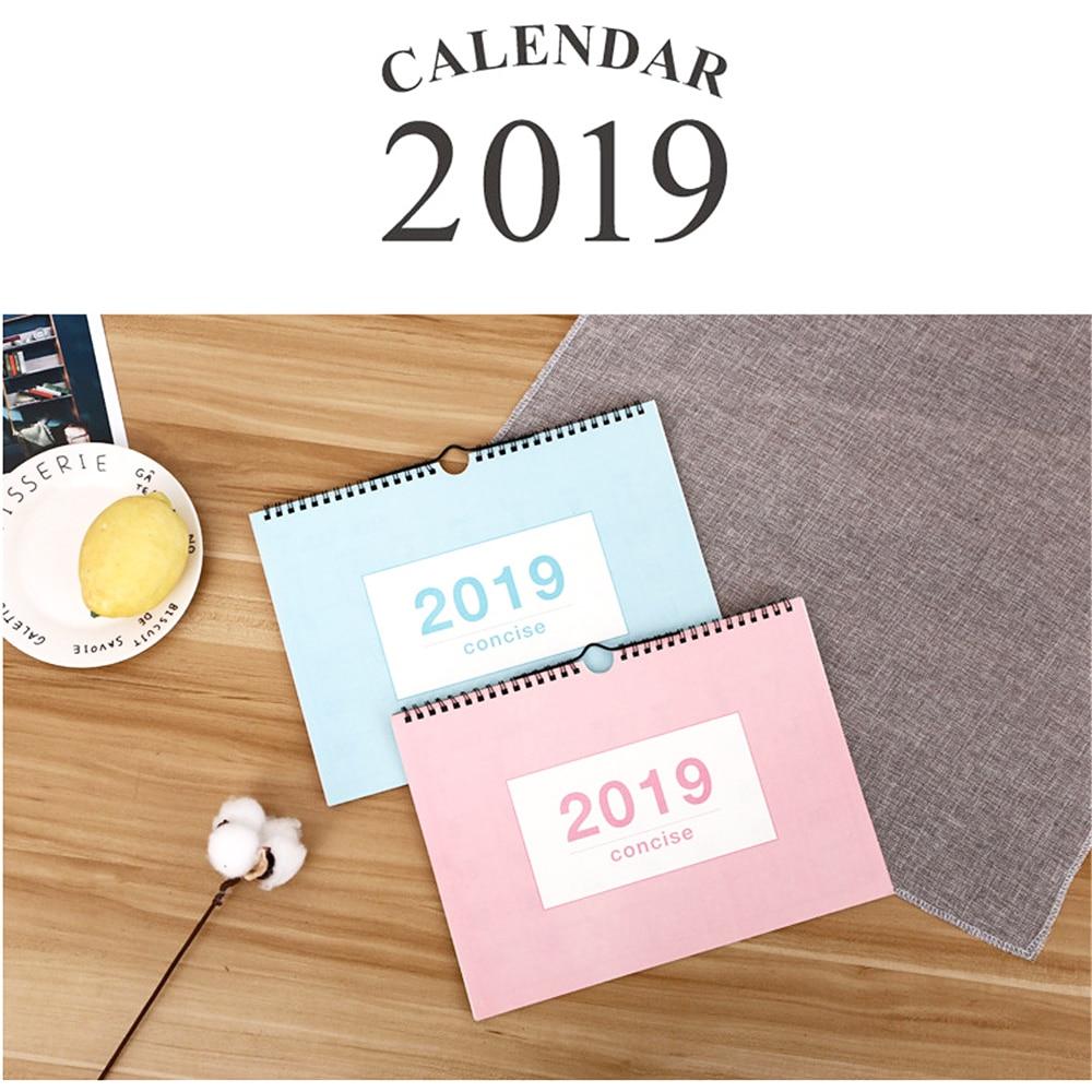 2019 Calendar Yearly Plan Agenda Organizer Desk Scheduler Hanging Wall Calendar School Office Supplies Stationery Notebooks