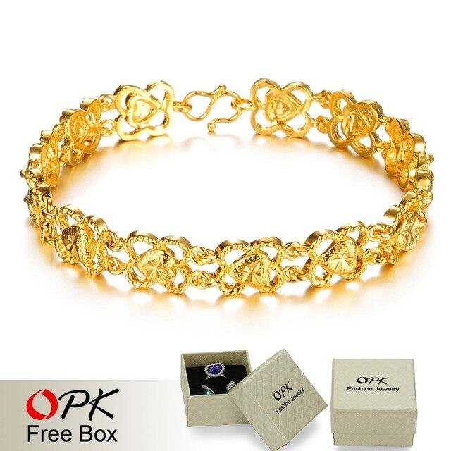 OPK JEWELLERY Hot Selling 18K gold plated hollowed design women chain bracelet, golden promotion bridal jewelry 379